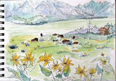 The Grand Tetons are my favorite range in all of the Rocky Mountains. Just south of Yellowstone National Park in northwest Wyoming, the park doesn't get the attention it deserves, in my opinion. I sketched this with the Teton Science School group, looking across the meadow at a herd of buffalo. The Tetons were named by French trappers – Grand Titties!