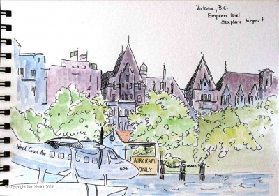 The elegant Empress Hotel in Victoria B.C. with its floating airport and afternoon tea!