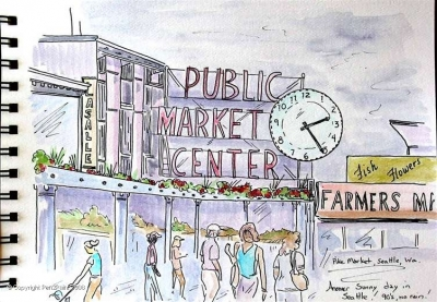 "Downtown Seattle, this landmark is always a ""must visit"" site for visitors to Seattle, the Pike Farmers Market. With flying fish and flowers and hand-crafted treats, it is a wonderful place to spend a day."