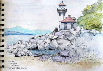 Lime Kiln State Park Lighthouse in the San Juan islands of northern Washington state.