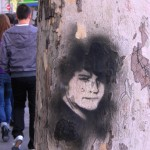 Stencil graffiti on a sycamore tree in Madrid - actually I sort of liked it - it reminded me a lot of Sean.