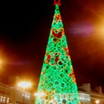 The massive lit Christmas Tree in Puerta del Sol, you could go inside it and look up!
