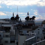 Taken from the top of one of Madrid´s galleries on the main drag, I wonder whose idea it was to put this magnificent sculpture of a chariot way up here? Vistas from heaven, perhaps?