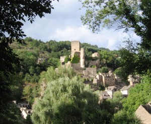 A hillside view of the beautiful village of Belcastel, about 1/2 hour drive from where I lived for a month in southern France.