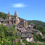 The village of Conques, north of the Aveyron region in France.