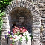 An alcove outside the Conques cathedral.