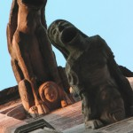 Gargoyles  all a bit gory if you ask me, on the cathedral at Rodez.
