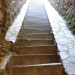The castle stairs were so cool – triangular shaped stairs to aid in climbing the steep incline. You have to walk in a zigzag fashion, but it works. Imagine these passing building codes now!