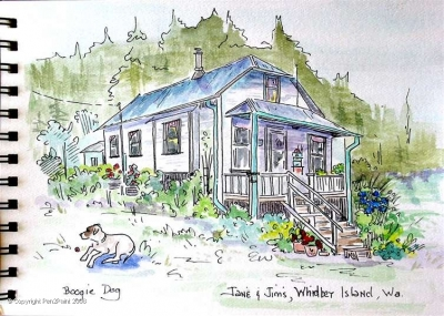 Aunt Jane & Uncle Jim's country home on Whidbey Island – always feels like home to me. Boogie dog and his ball are always waiting for an unsuspecting kind person to THROW THE BALL, PLEASE PLEASE PLEASE!