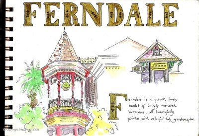 The lovely town of Ferndale, on the Pacific coast – the site where many of the buildings were used in the filming of The Majestic, with Jim Carrey – the other town where it was filmed was north in Fort Bragg and Mendocino.