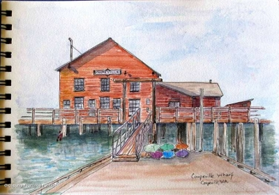 On Whidbey Island not far from Seattle, the little village of Coupeville has a charming wharf and also a great Art Center, with classes all summer long!