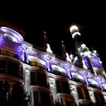 Dramatically uplit hotel in Plaza Santa Ana, near where I lived in Madrid. The white exterior, coupled with the vibrant lavendar lighting is just gorgeous. Many celebrities stay here, very chic!