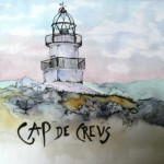 At the top northeastern corner of Spain, within sight of France lies the Cap de Creus lighthouse. It's a remote spit of land, tortured by the fierce Tramontana winds. I did this watercolor of the lighthouse there for my sweet Catalan buddy Beth who loves lighthouses and took me there to see it once.